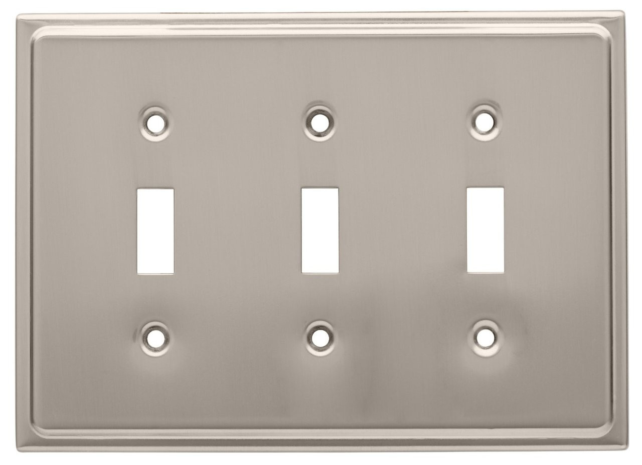 126366 Satin Nickel Country Fair Triple Switch Cover Wall Plate