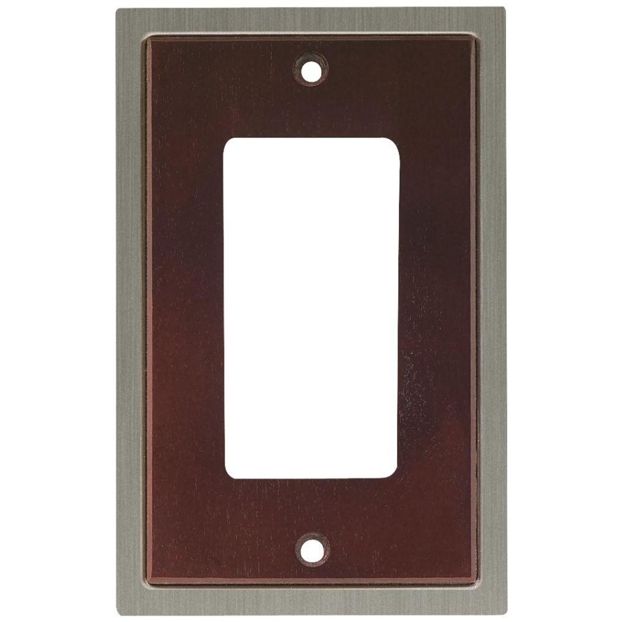 W10586-ESN Wood Insert Espresso  & Satin Nickel GFCI Cover Plate