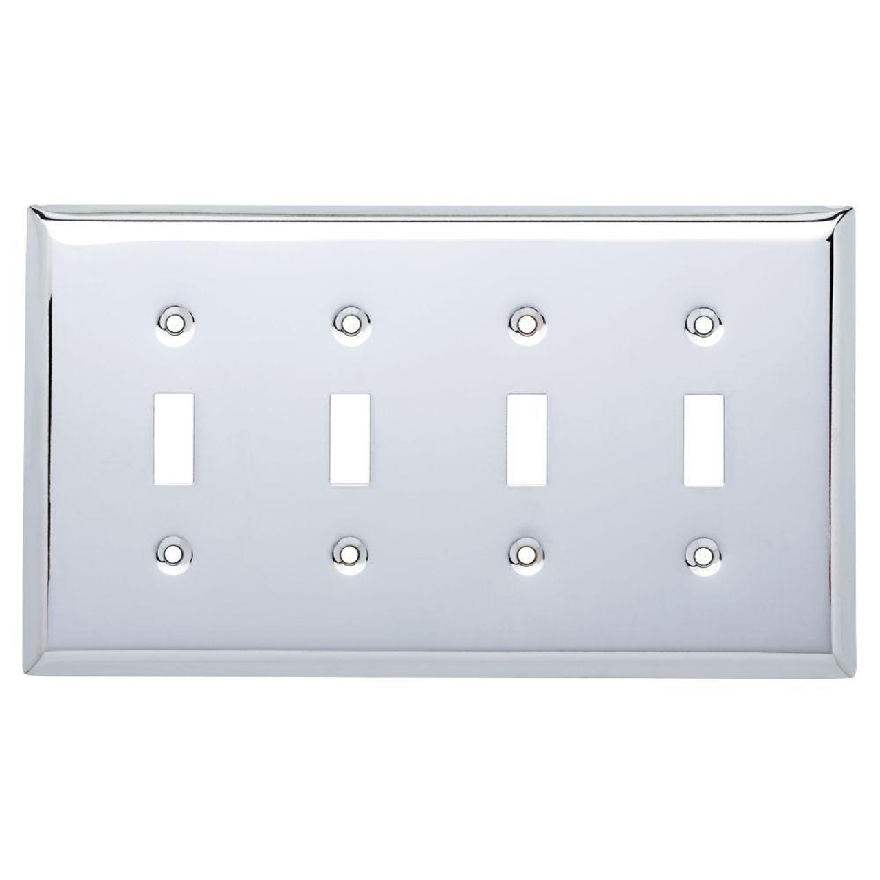 Chrome Stamped Quad Switch Cover Wall Plate