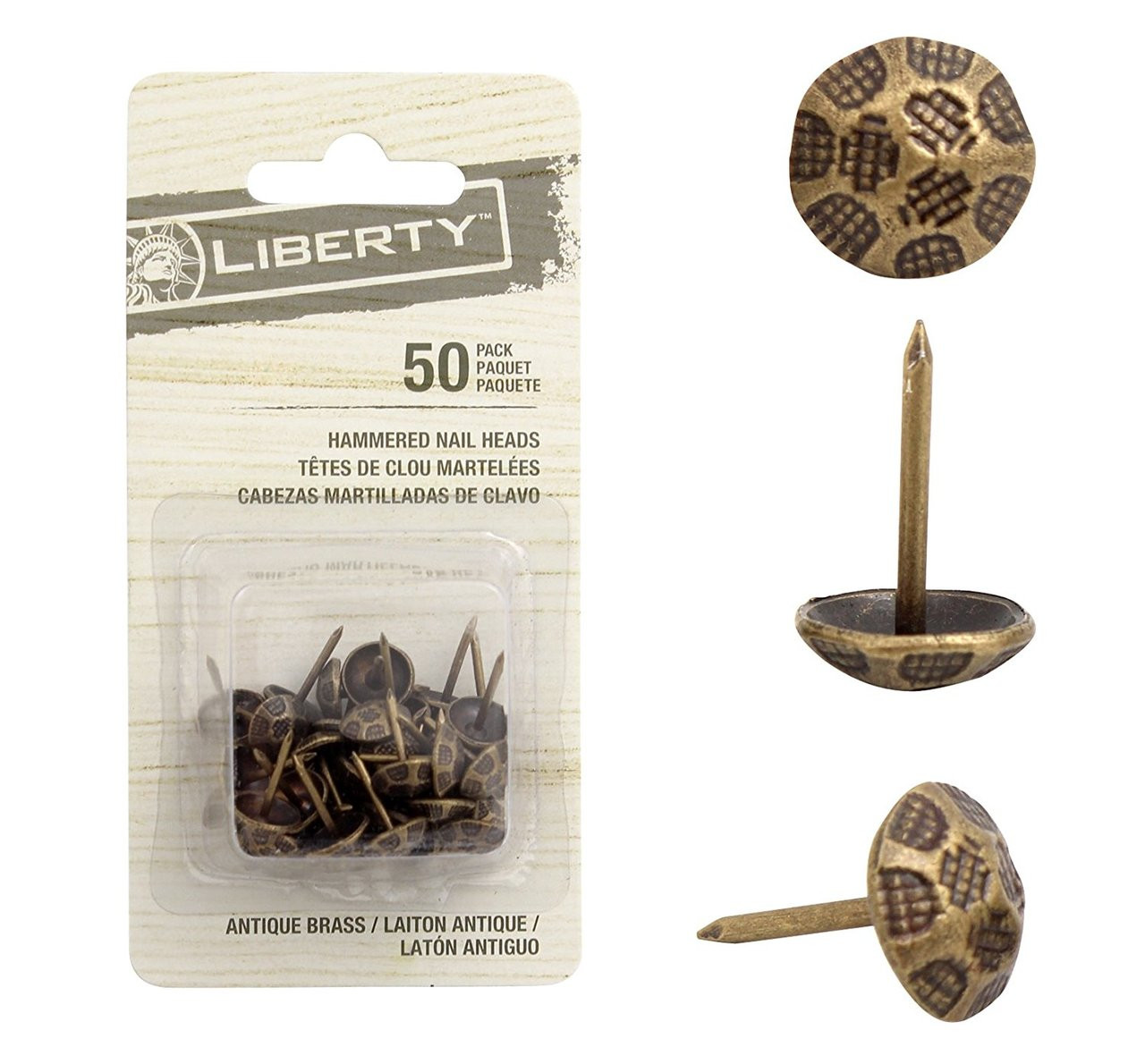 NHD005-AB Vintage Inspired Antique Brass Hammered Furniture Nailhead - 50 Pack
