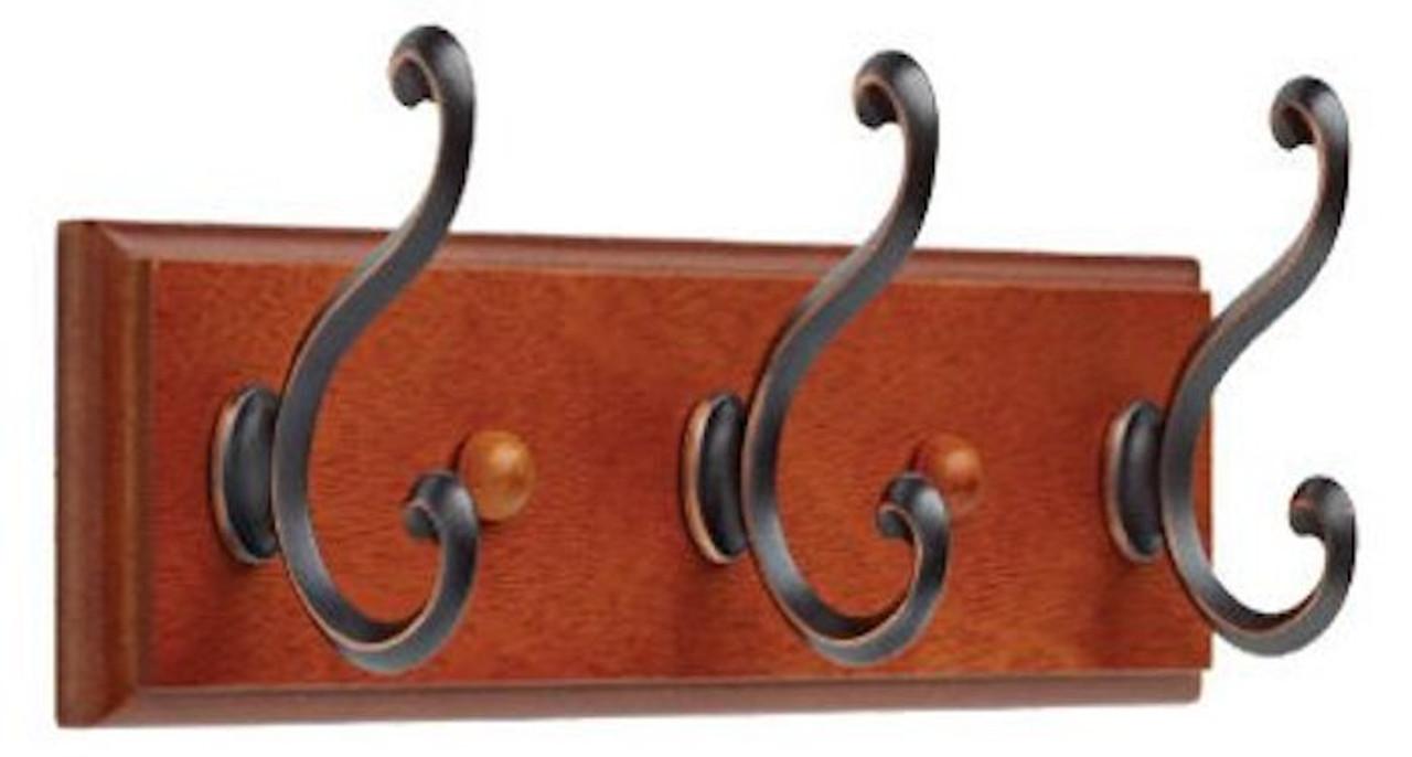 "085-03-0438 10"" 3 Scroll Hook Coat/Hat Rail Dark Caramel w/ Bronze Hooks"