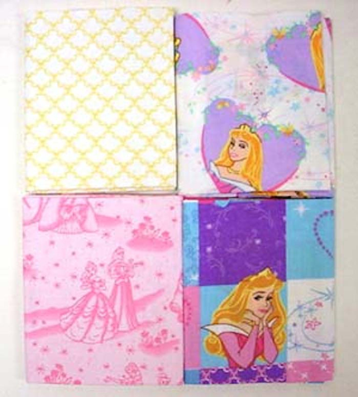 Disney Princess Fat Quarters Cotton Fabric Lot Of 4