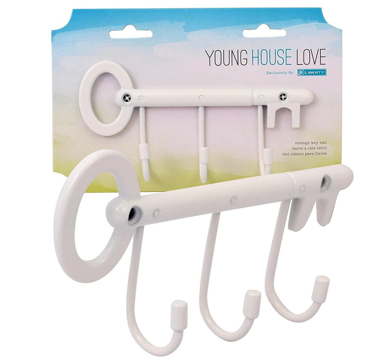 White Young House Love Vintage Key Rail with 3 Hooks