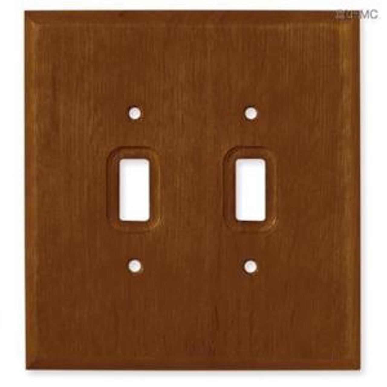 126427 Dark Oak Wood Double Switch Plate Cover