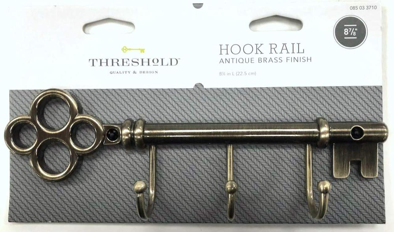 Threshold 085-03-3710 Vintage Style 3 Hook Key Rail Antique Brass Finish
