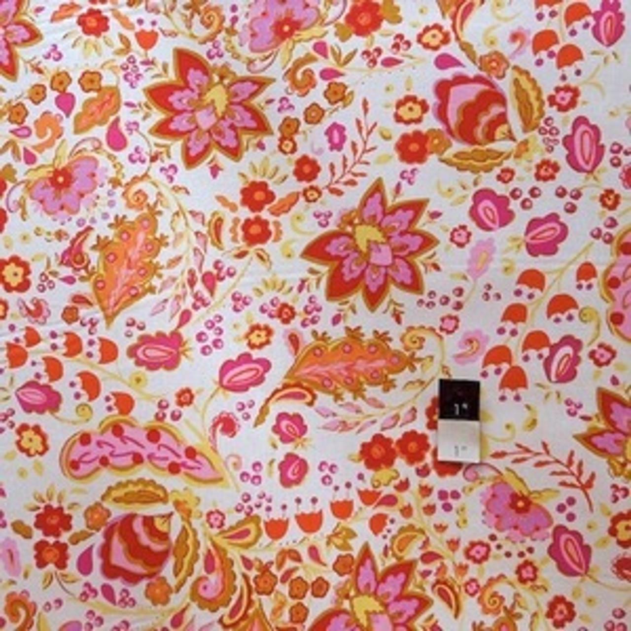 Dena Designs F009 Sunshine Bellflower White Linen Blend Fabric 10 Yd Bolt