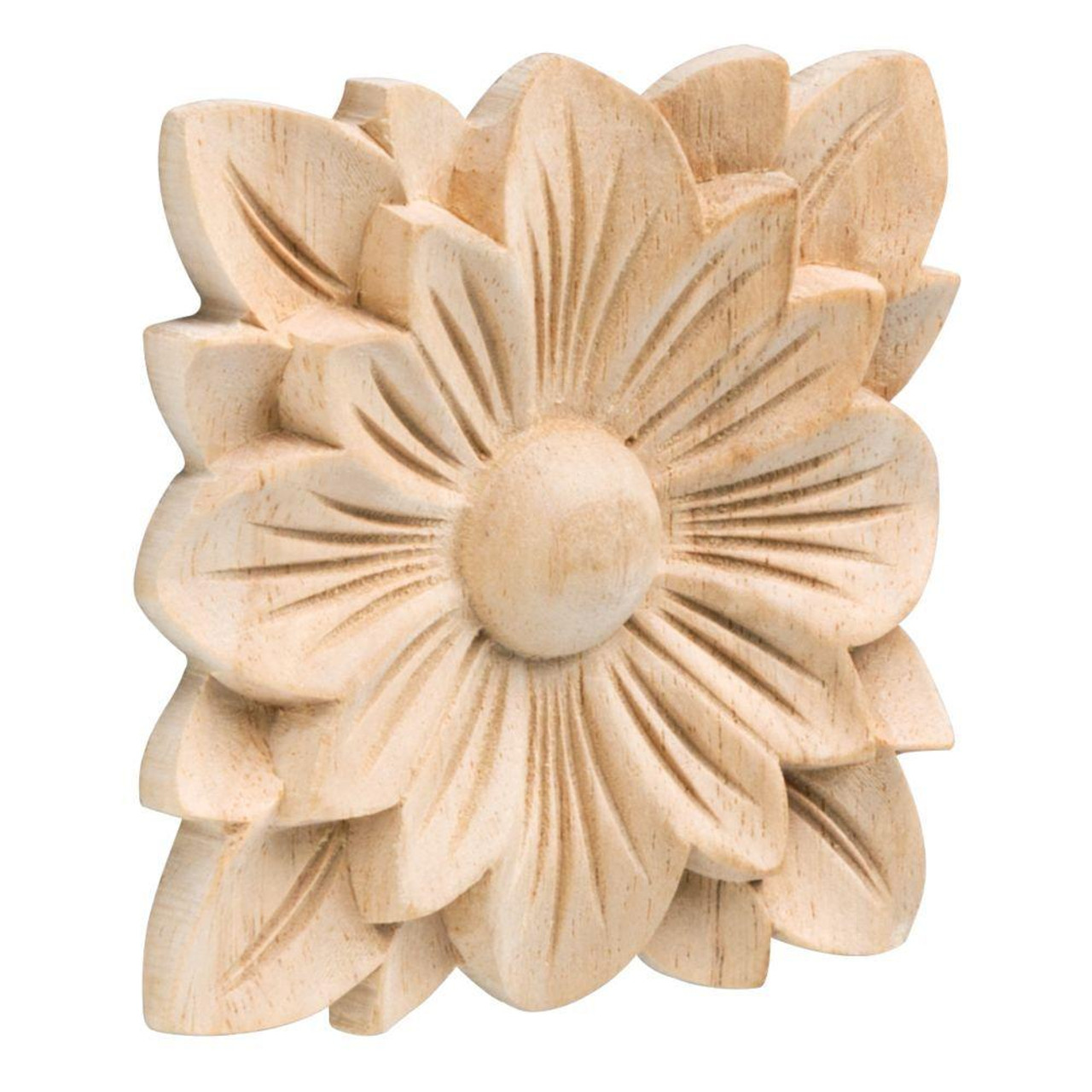 "Liberty 3 1/2"" Vintage Style Unfinished Wood Flower Furniture Embellishment"