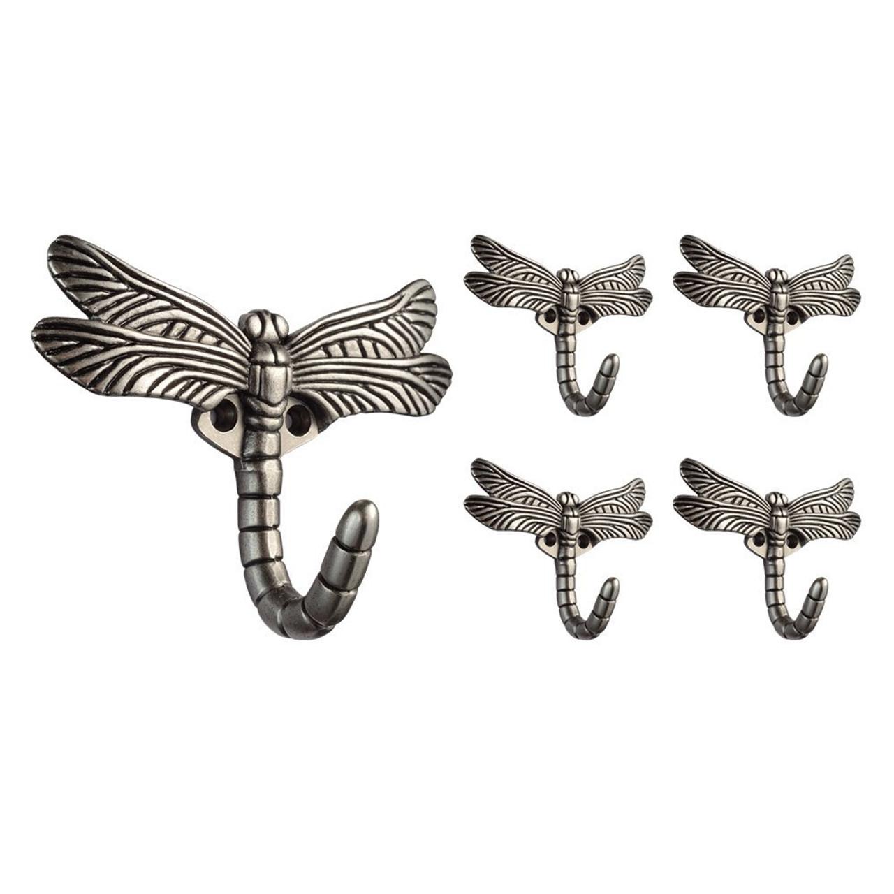 Franklin Brass B46145Y-BSP Brushed Satin Pewter Dragonfly Coat & Hat Hook 5 Pack