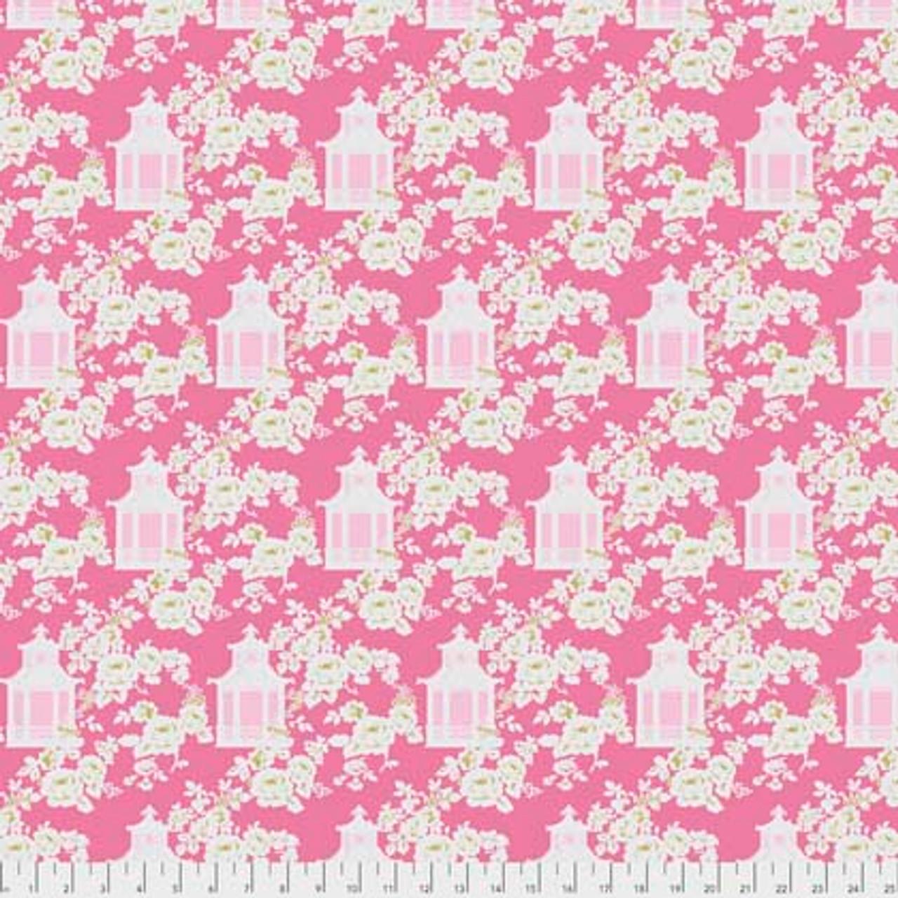 Tanya Whelan Gazebo PWTW151 Gazebo Toile Pink Cotton Fabric By The Yard