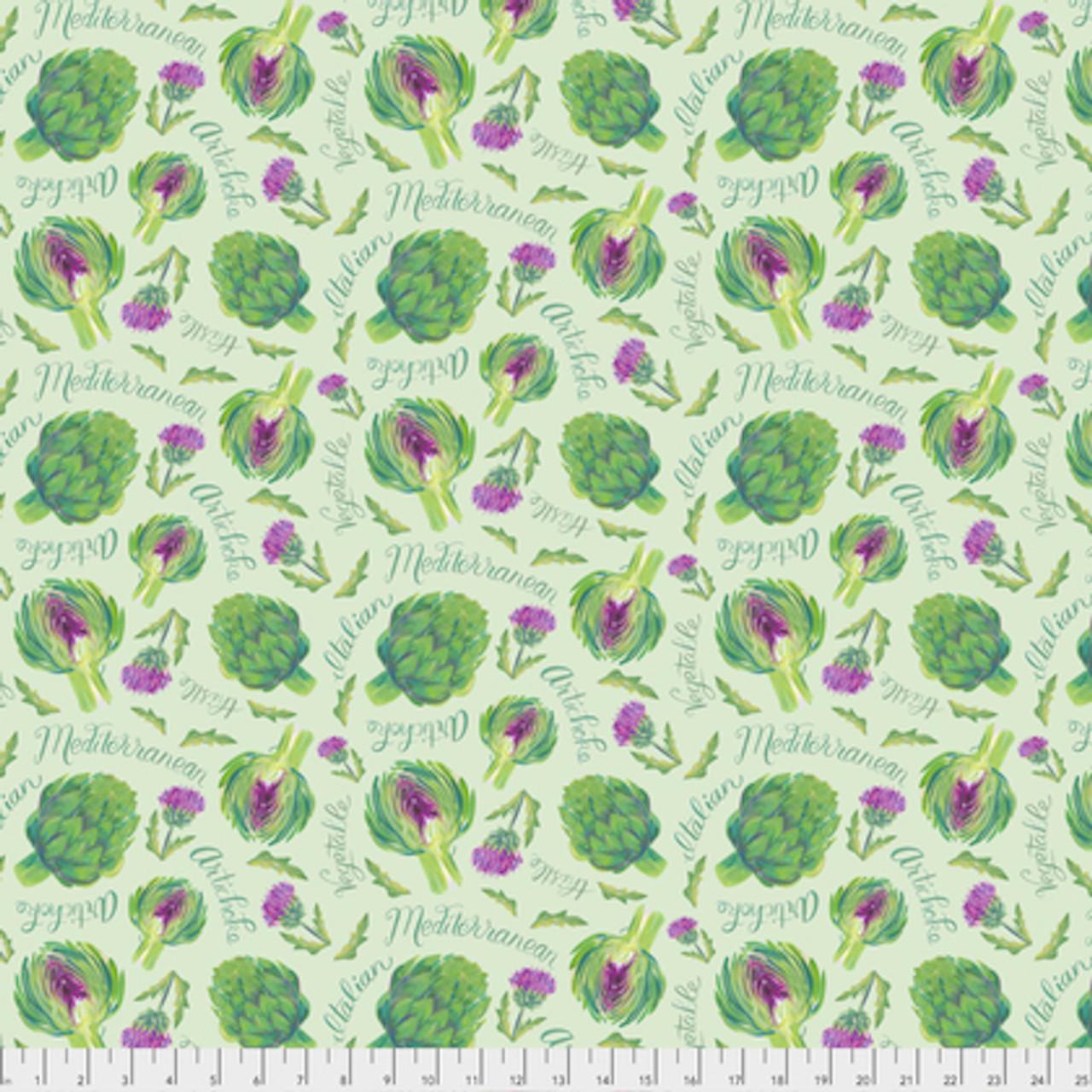 Corinne Haig PWCH001 Artichoke Garden Green Cotton Fabric By Yd