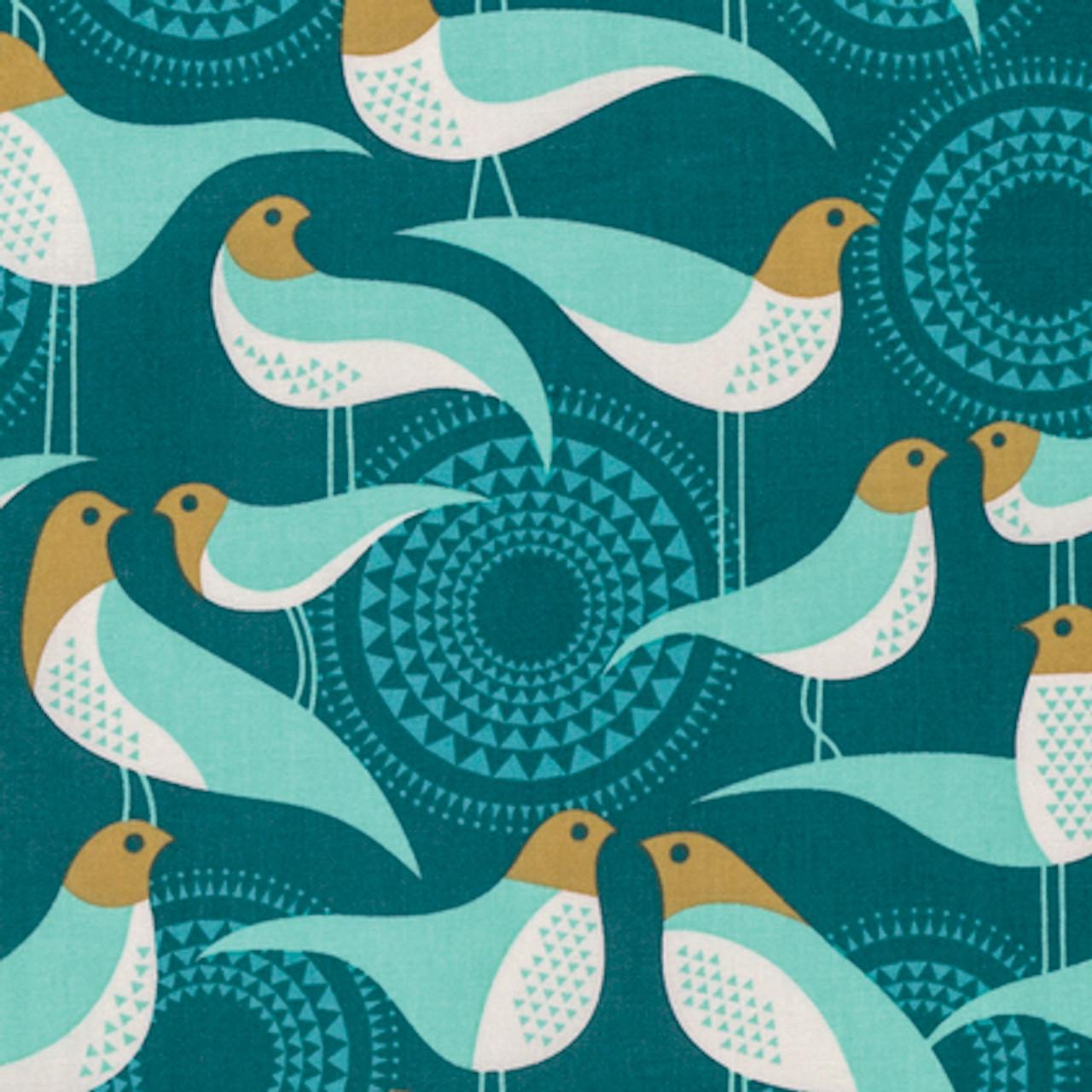 Joel Dewberry PWJD138 Modernist Vignette Peacock Cotton Quilting Fabric By Yard