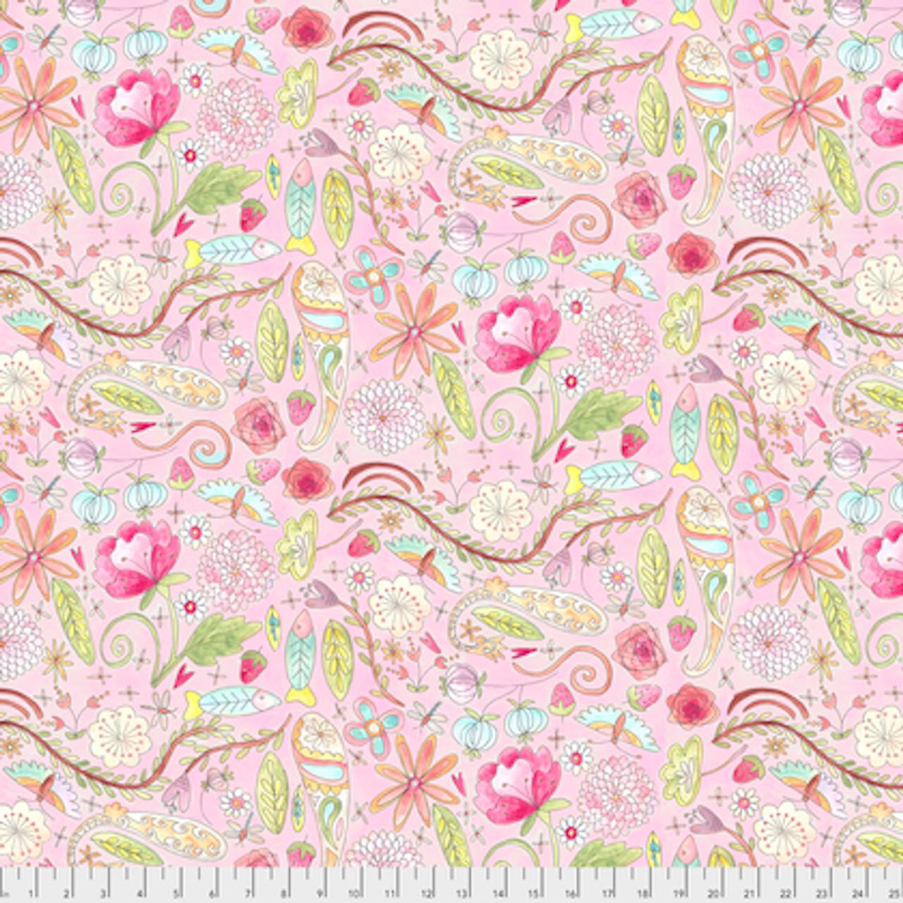 Laura Heine The Dress PWLH002 Garden Pink Cotton Fabric By Yd
