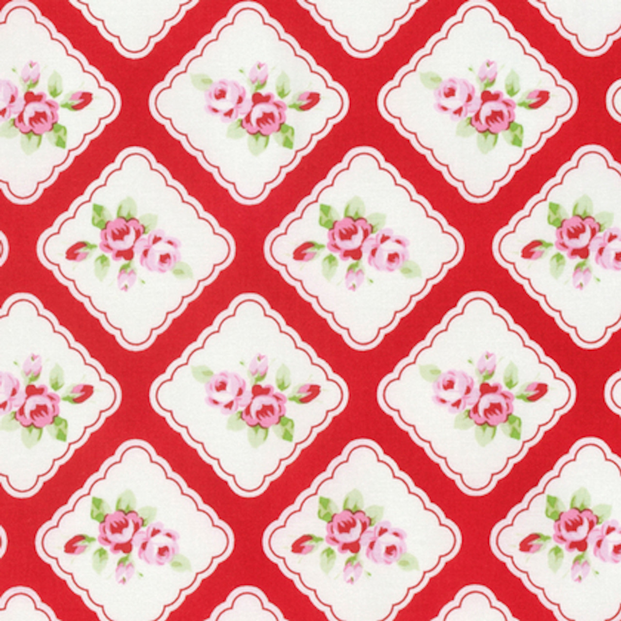 Tanya Whelan Rambling Rose PWTW130 Framed Rosebuds Red Cotton Fabric By Yard