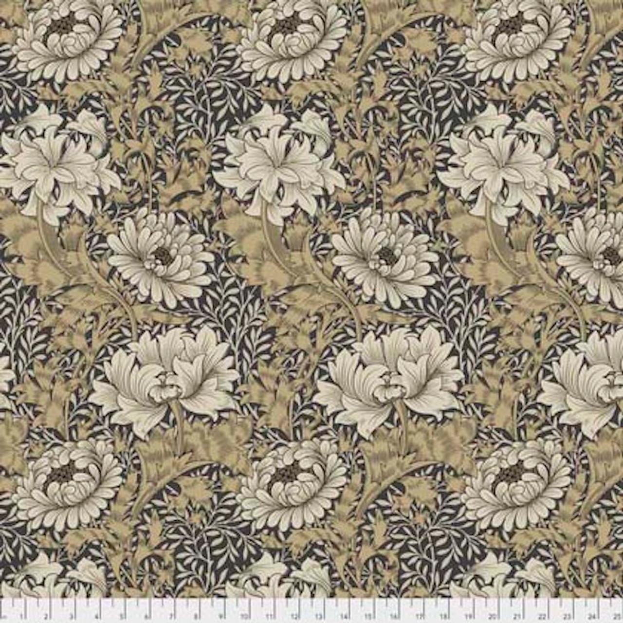 Morris & Co. Merton PWWM009 Chrysanthemum Taupe Cotton Fabric By Yd