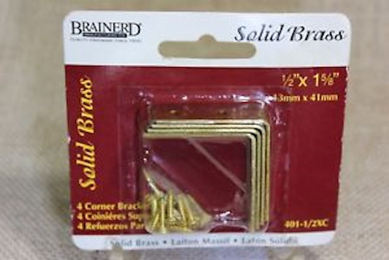 "Brainerd 401-1/2XC Solid Brass 1/2"" x 1 5/8"" Corner Brace Pack of 4"