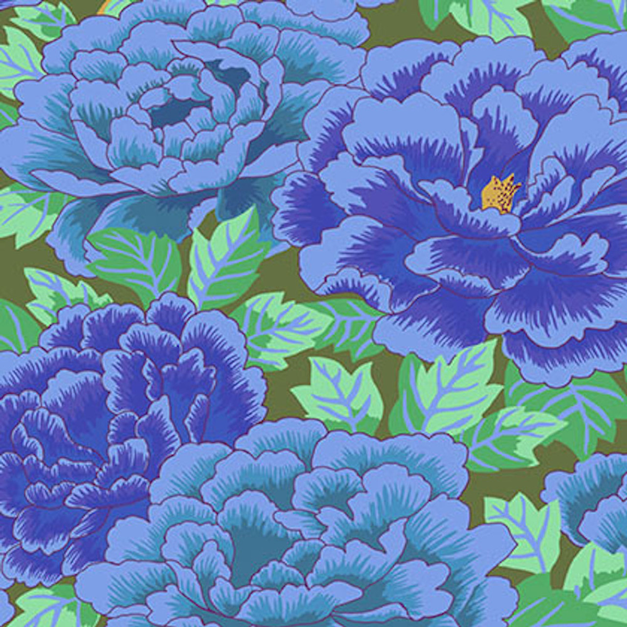 Kaffe Fassett Gp33 Kimono Cobalt Turquoise Cotton Fabric By The Yard