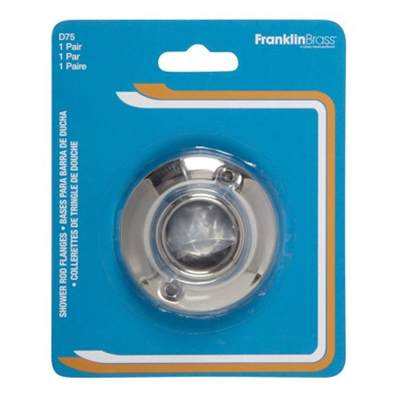 Franklin Brass D75 Shower Curtain Rod Flange For 1 Shower Rods Chrome 1 Pair