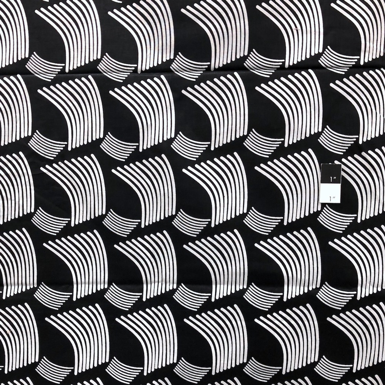 Genuine African Printex Black & White Collection Shell Cotton Fabric By Yard