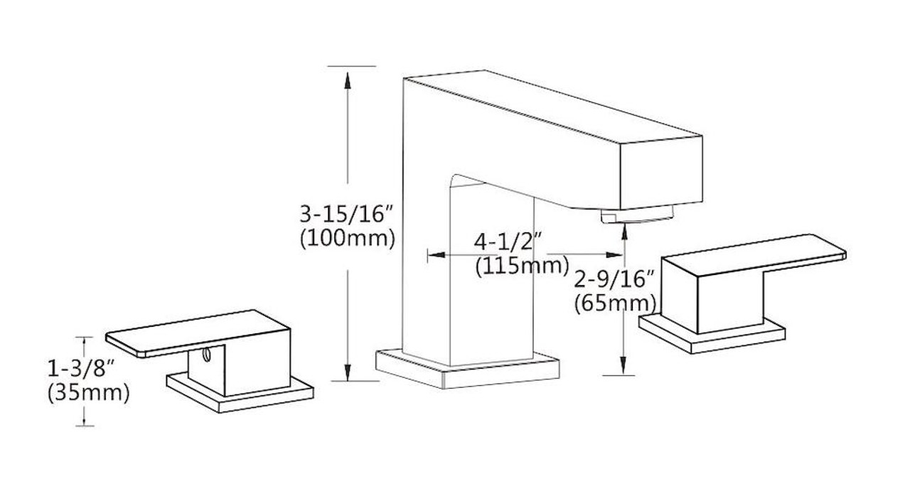 FBX Aral 83H27-BN Bath 2 Handle Widespread Faucet Brushed Nickel
