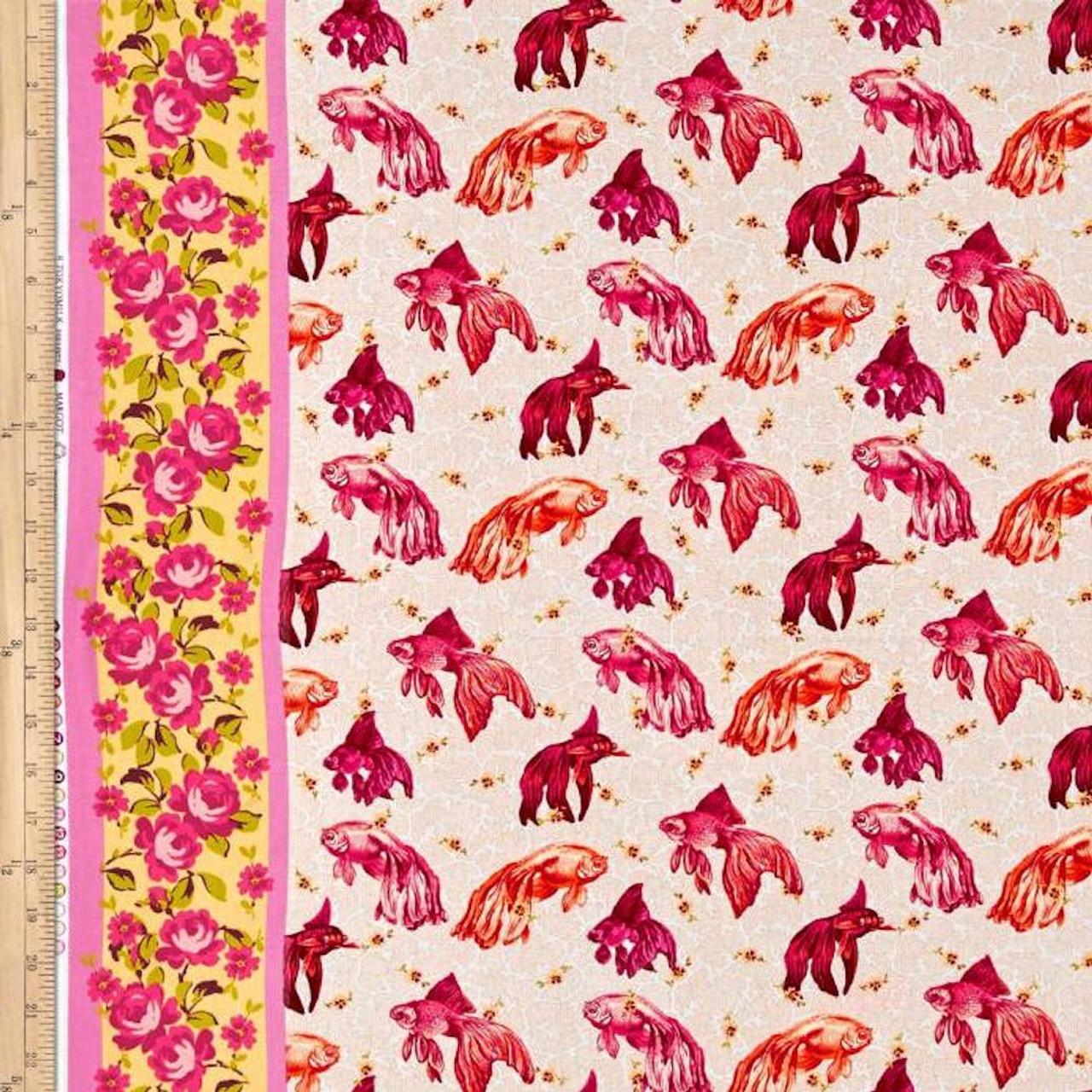 Tokyo Milk Neptune & The Mermaid PWTM003 Age Of Aquarius Pink Fabric By Yd