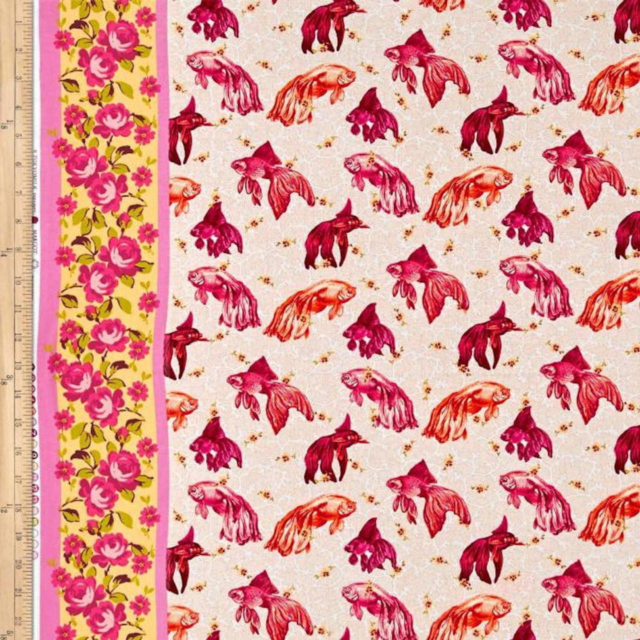 Tokyo Milk Neptune & The Mermaid PWTM003 Age Of Aquarius Pink Fabric By Yd