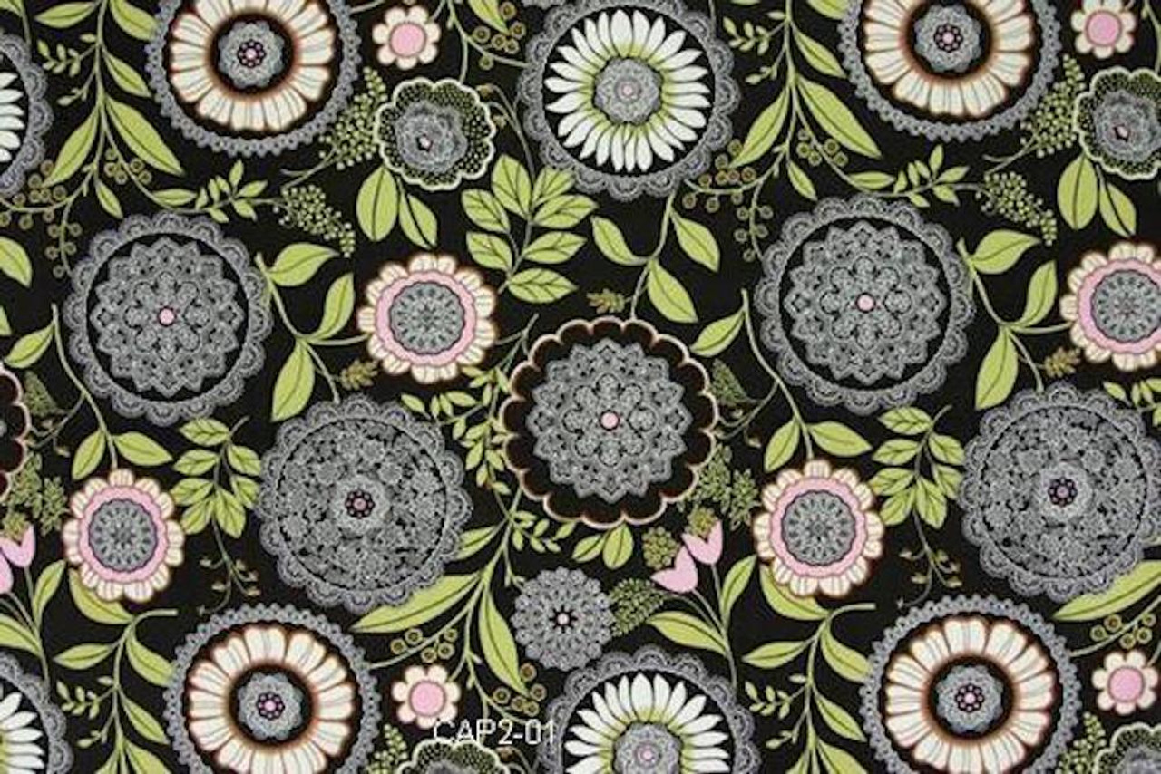 Amy Butler AB19 Lotus Lacework Olive Cotton Fabric By Yard