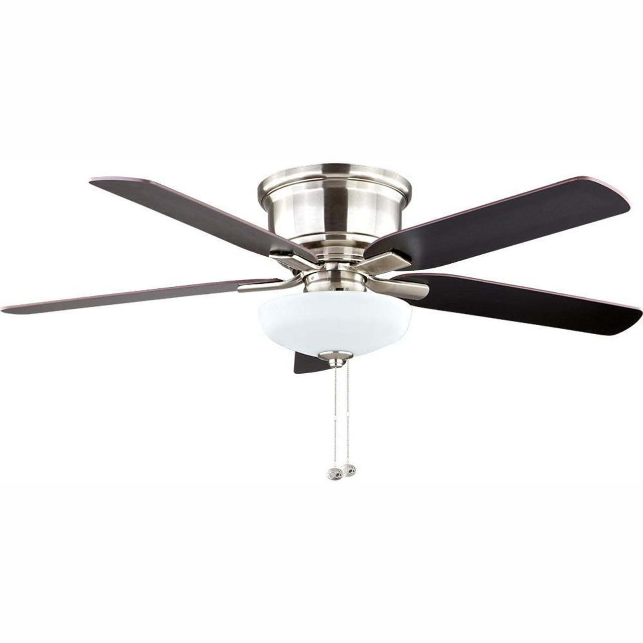 "Hampton Bay Holly Springs Low Profile 52"" LED Indoor Brushed Nickel Ceiling Fan"