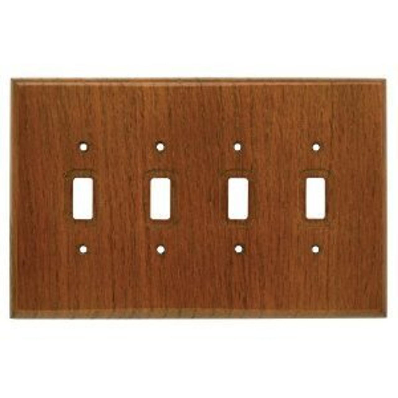 126429 Dark Oak Wood Quad Switch Cover Plate