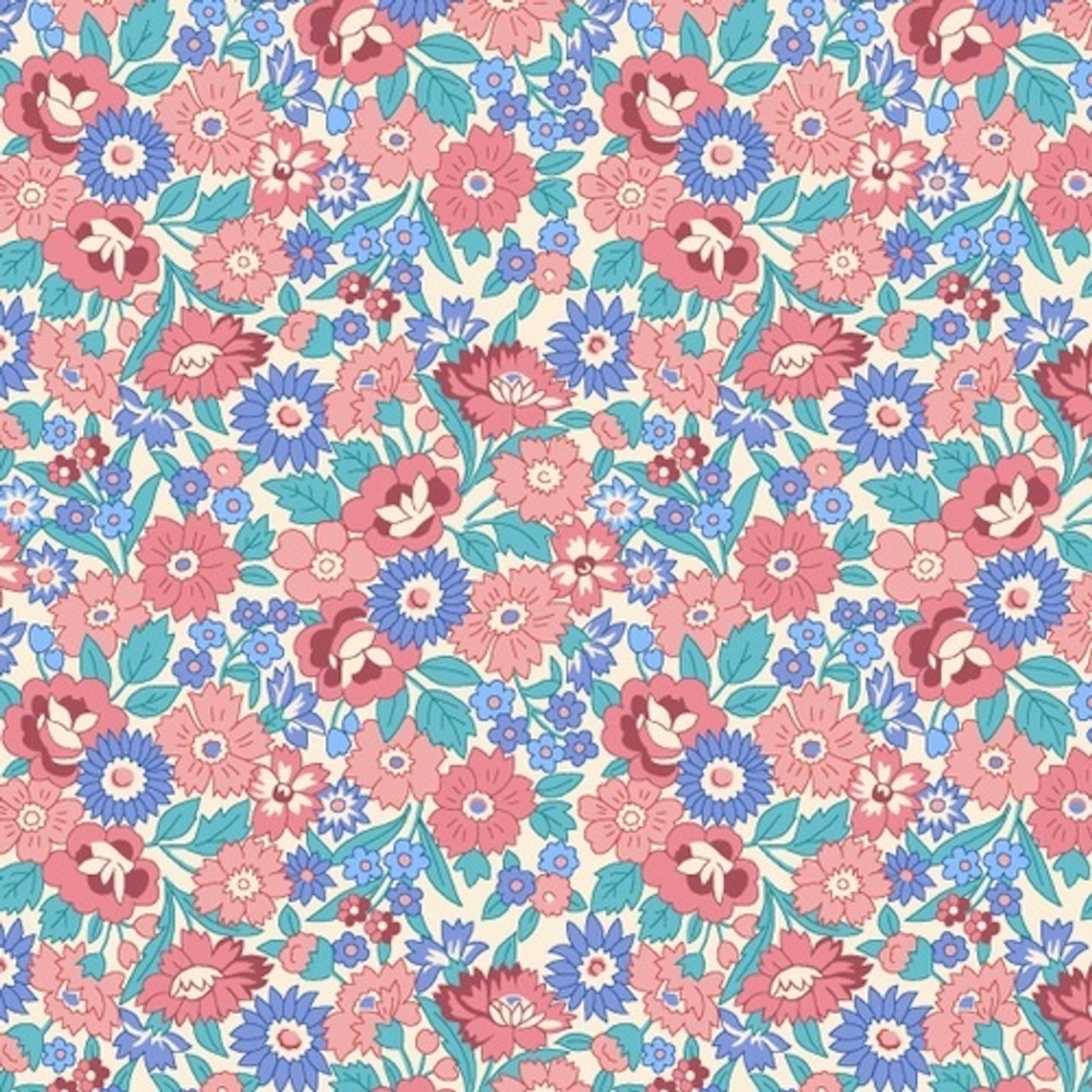 Henry Glass 1326-12 Windsor Park Allover Floral Pink Blue Cotton Fabric By Yard