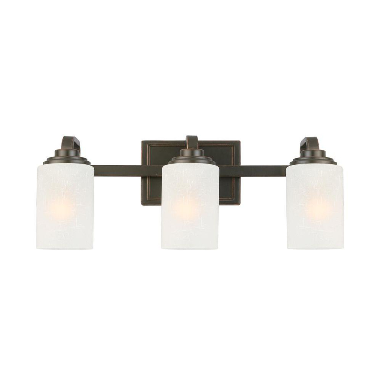 3-Light Oil-Rubbed Bronze Vanity Light w/ Frosted Patterned Glass Shade