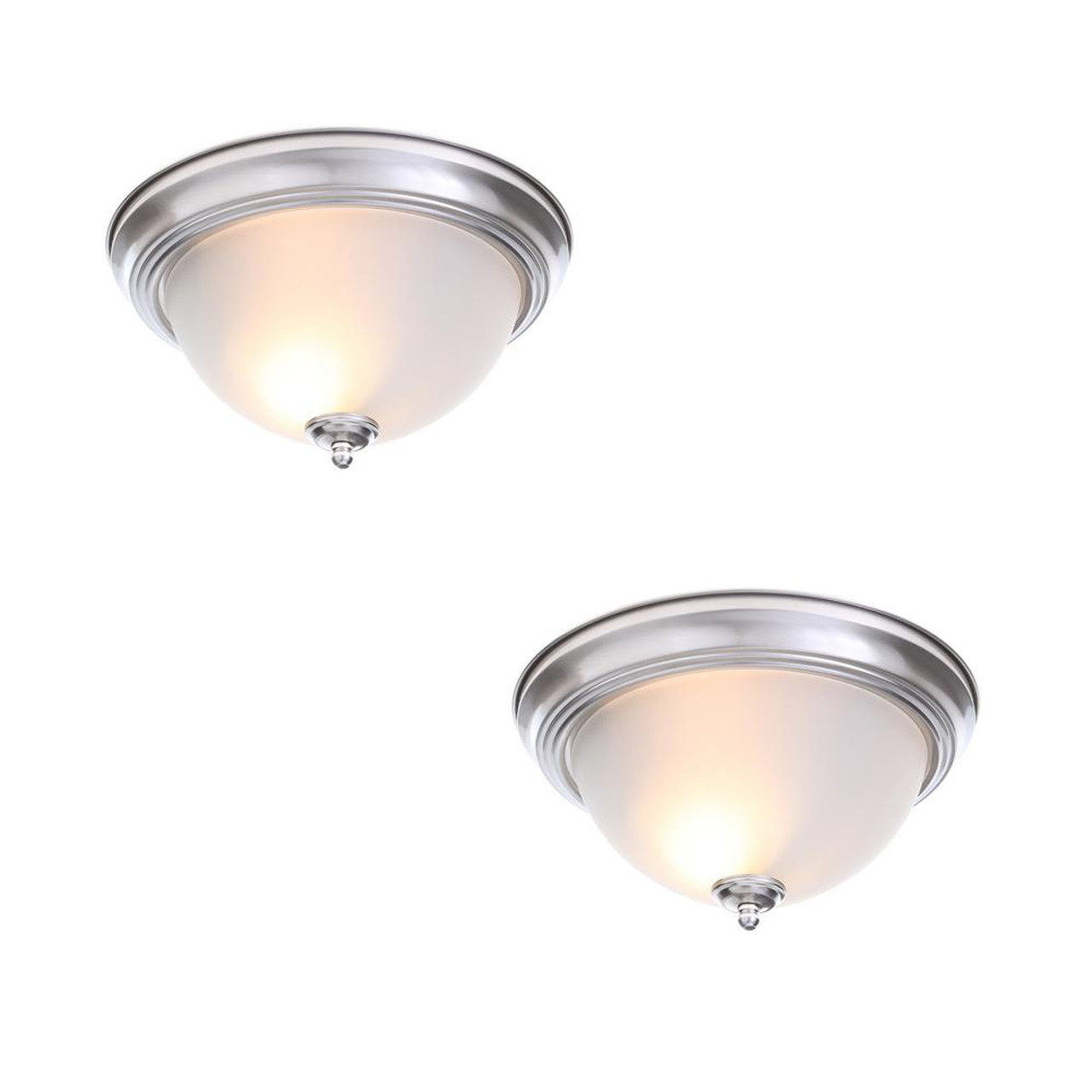"""13"""" 2-Light Brushed Nickel Flush Mount w/ Frosted Glass Shade 2-Pack"""