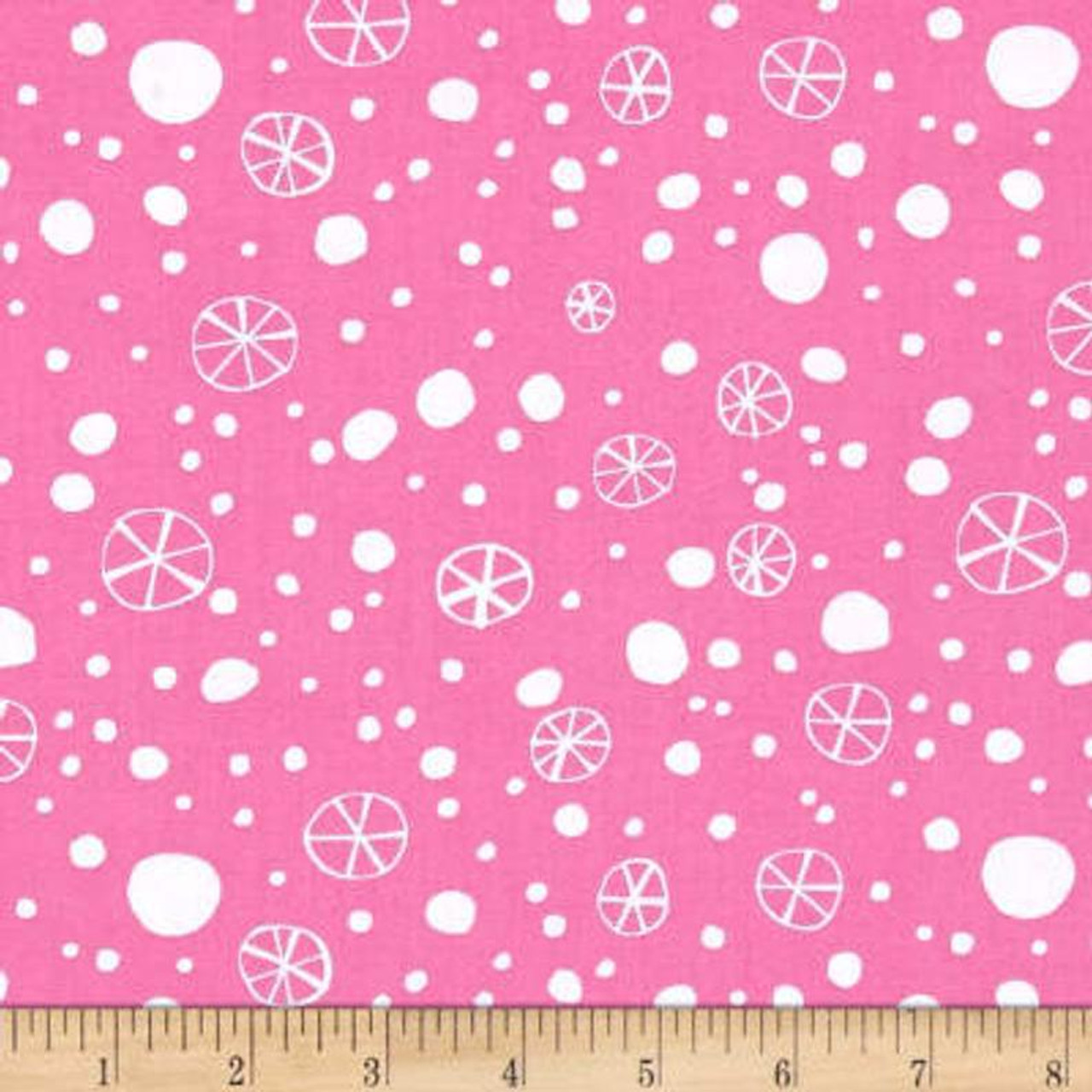 David Walker PWDW131 Merry Christmas Snowflakes Pink Fabric By Yd