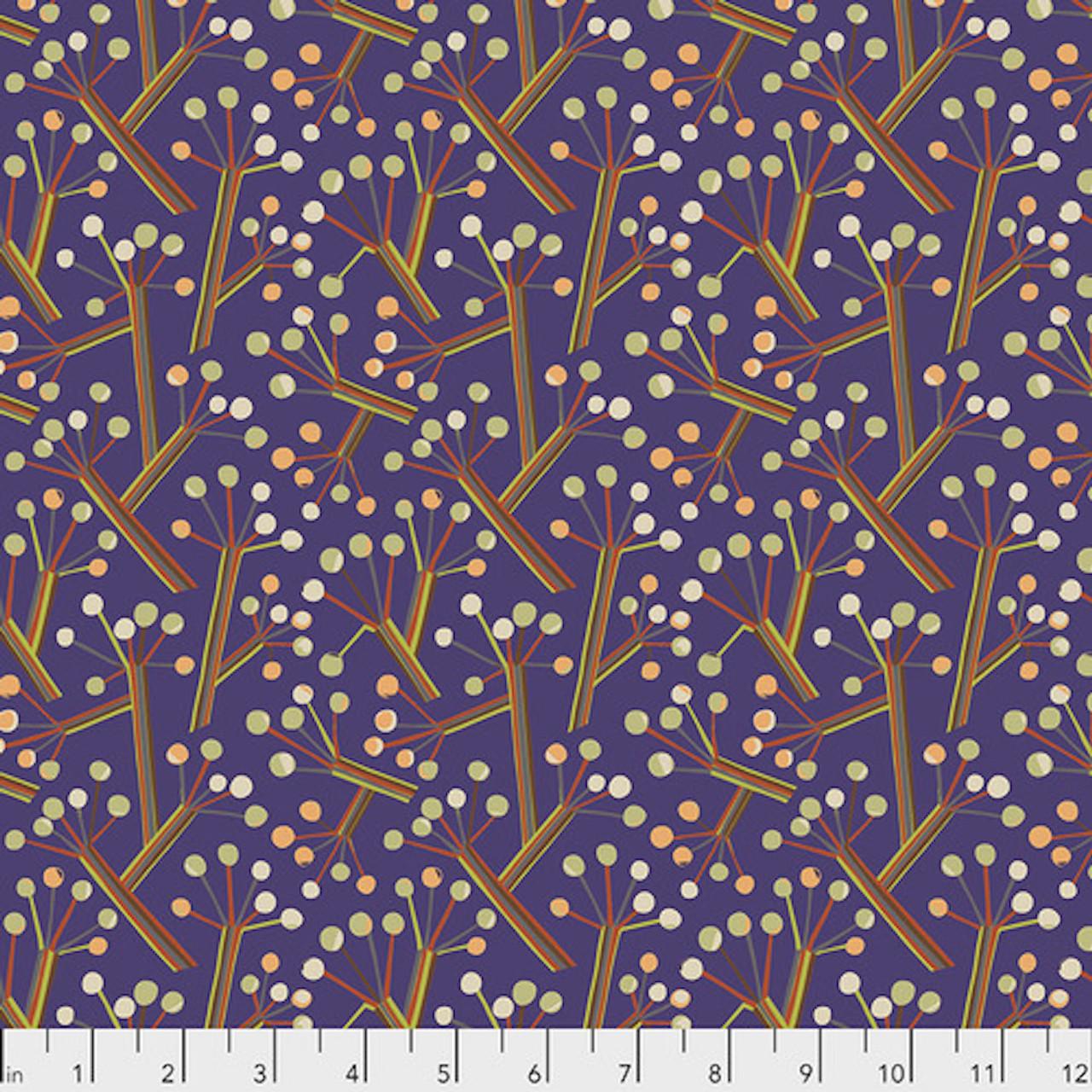 Kathy Doughty PWMO034 Seeds & Stems Bush Lily Royal Cotton Fabric By Yard