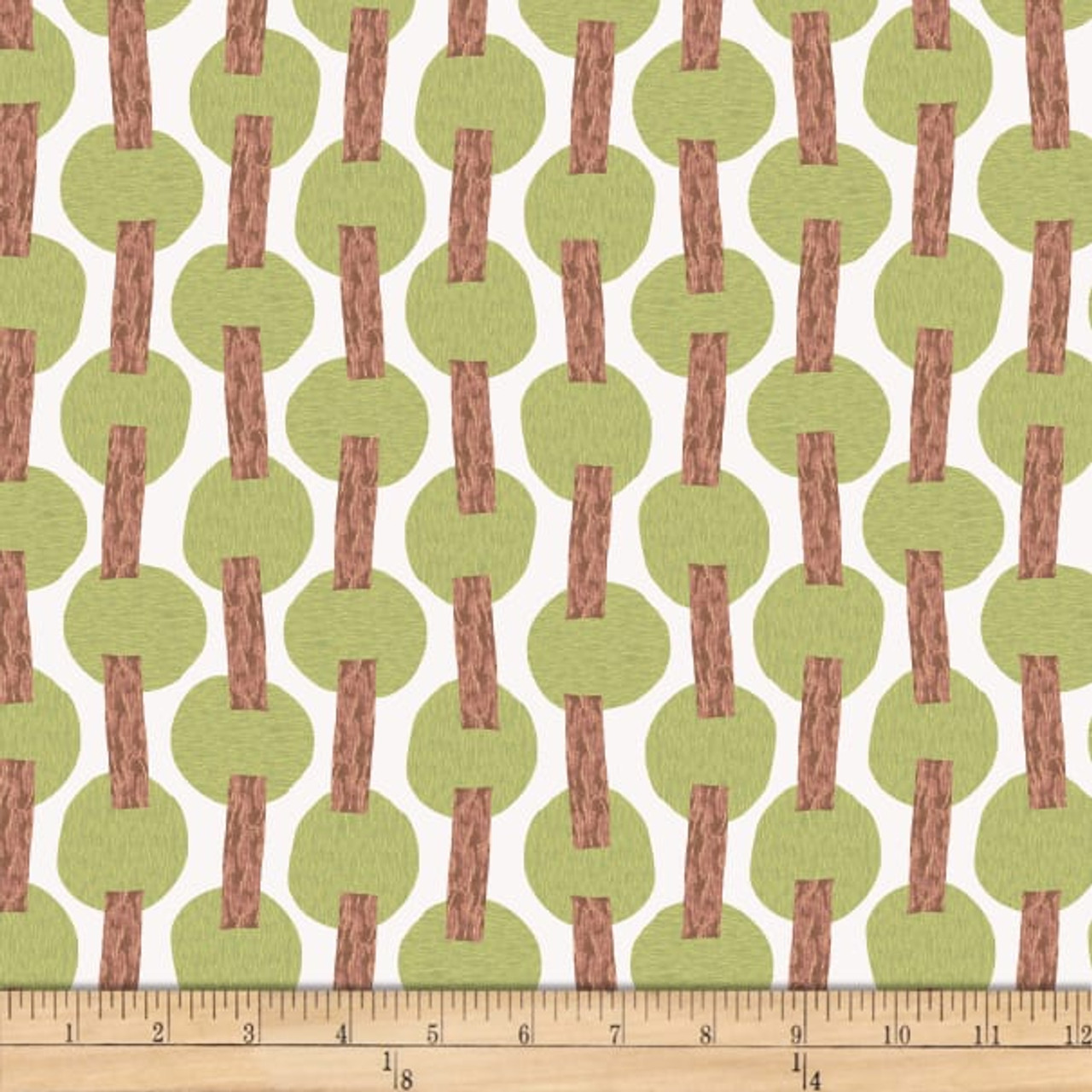 Stof Fabrics Murano Collection Line Dot Purple & Green Cotton Fabric By The Yard