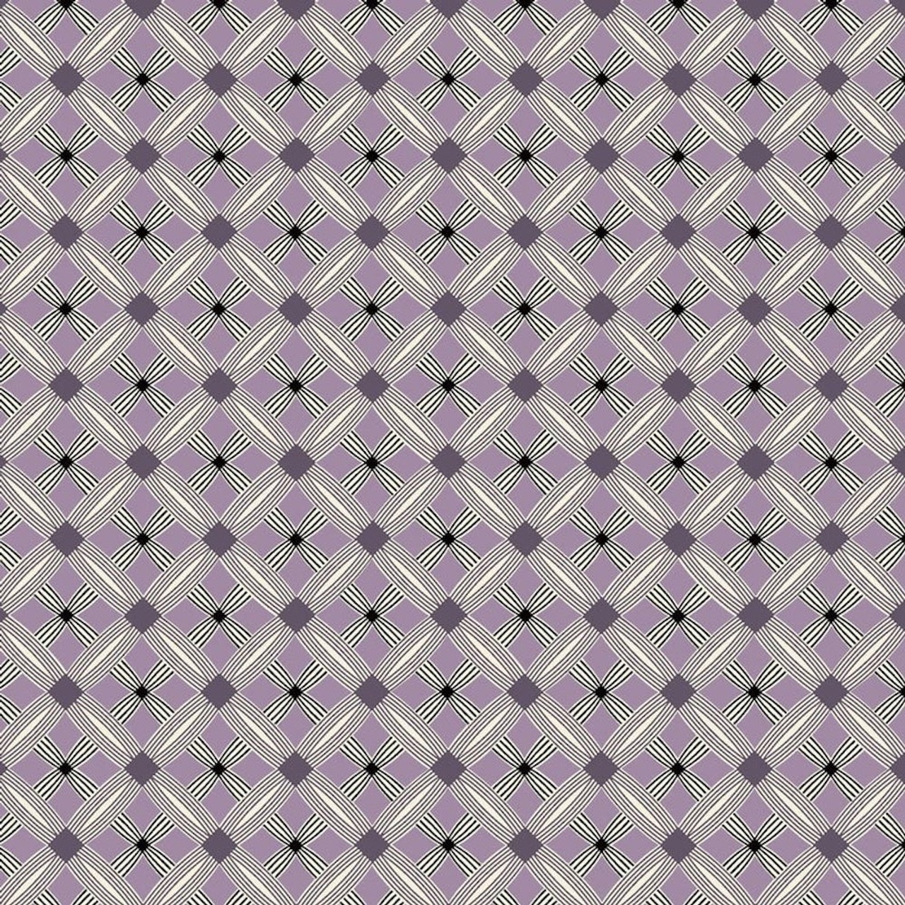 Stof Fabrics Bubble Grid Collection Diamond Purple Cotton Fabric By The Yard