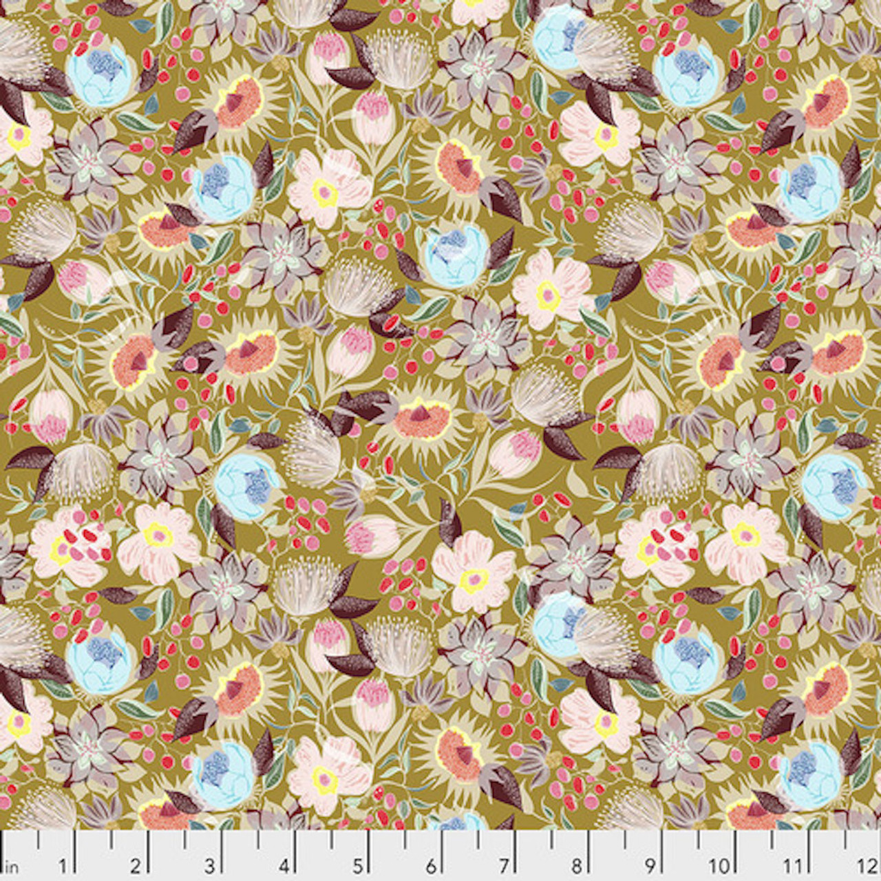 Shannon Newlin Vibrant Blooms Meadow Warm Cotton Fabric By The Yard