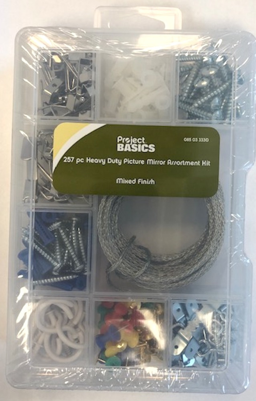 Project Basics 085-03-3330 257 Pc Heavy Duty Picture & Mirror Hanging Assortment