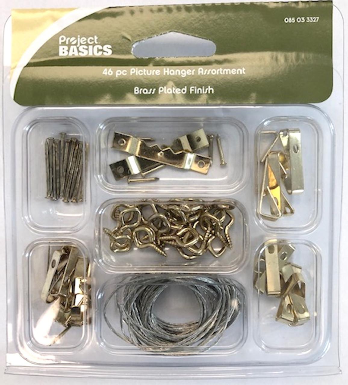 Project Basics 085-03-3327 46 Piece Brass Plated Light & Medium Duty Picture Hanger Kit