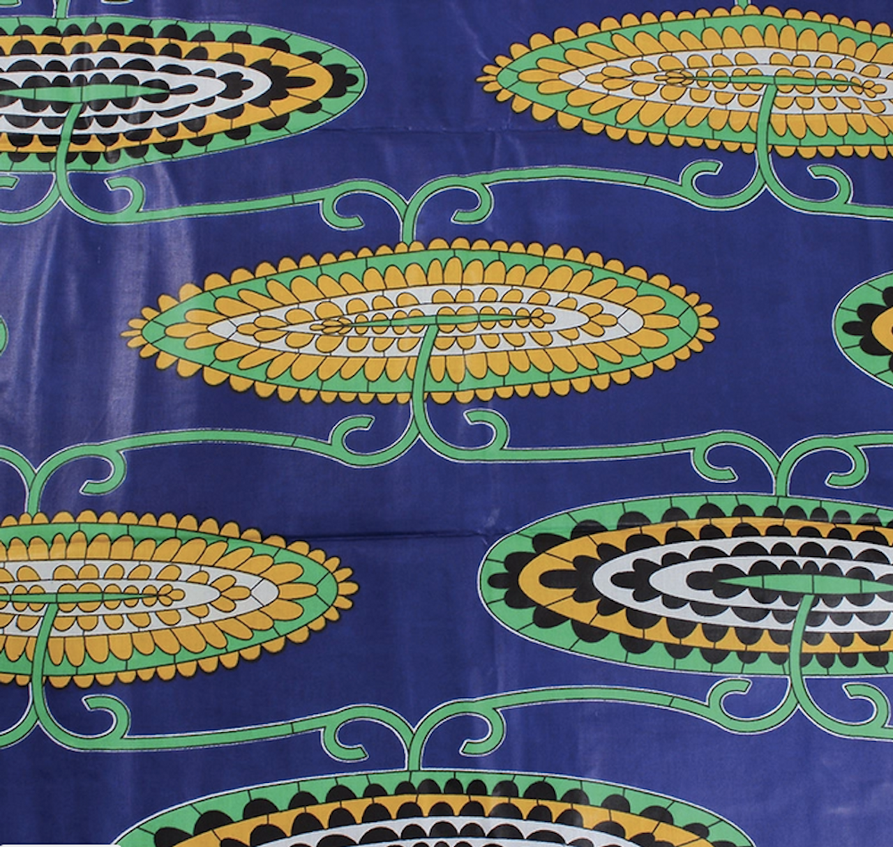 African Print Stylized Floral Blue & Yellow Traditional Wax Print Cotton Fabric By The Yard