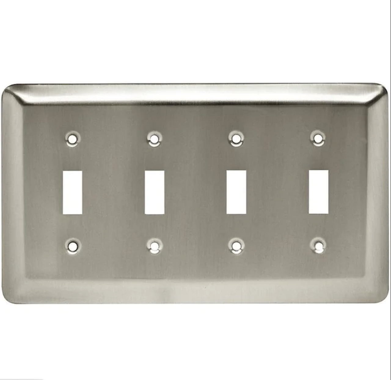 BRAINERD 64104 Stamped Satin Nickel Round Quad Toggle Switch Wall Plate Cover