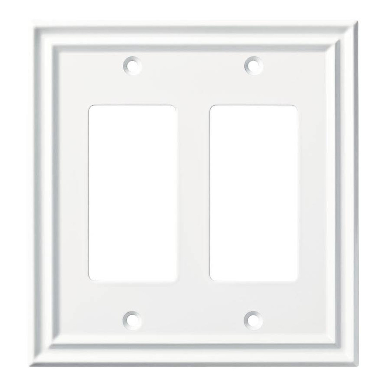 Brainerd W36560-PW Traditional Double GFCI Decora Pure White Wall Plate Cover