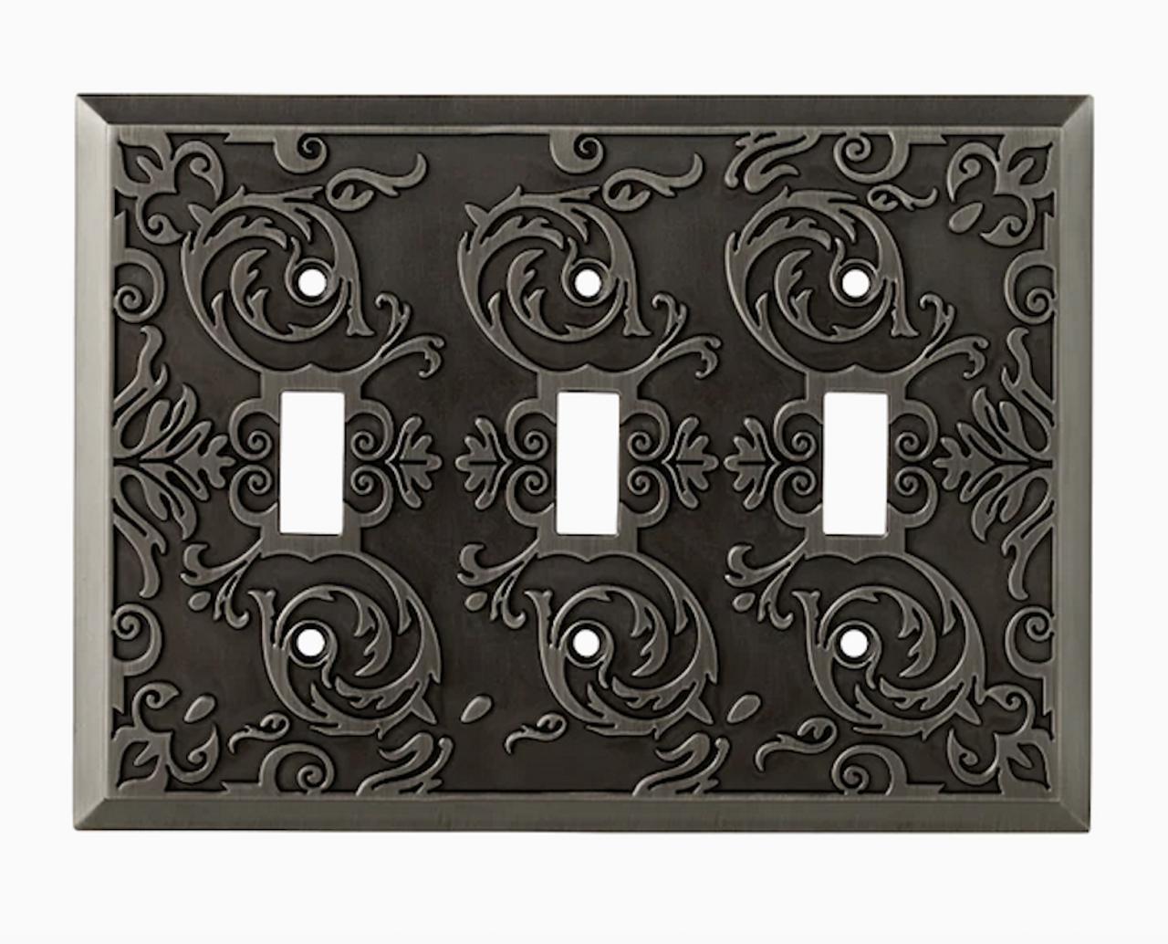 W27114-904 Fairhope Heirloom Silver Triple Switch Cover Plate