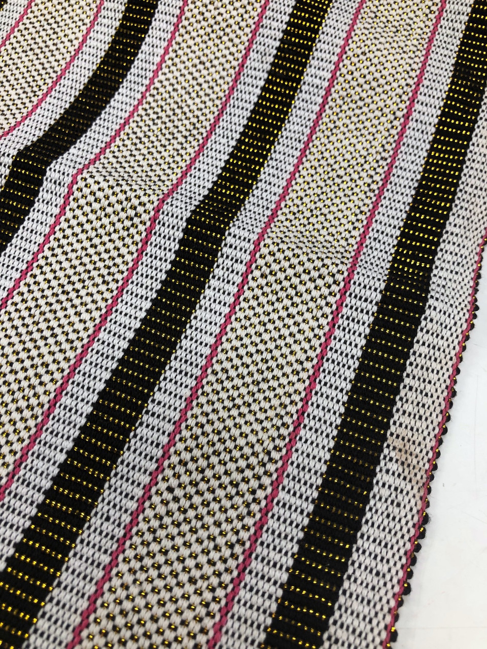 "African Faso Dan Fani Handmade Woven Gold Metallic Cotton Fabric 12"" x 3 yds"