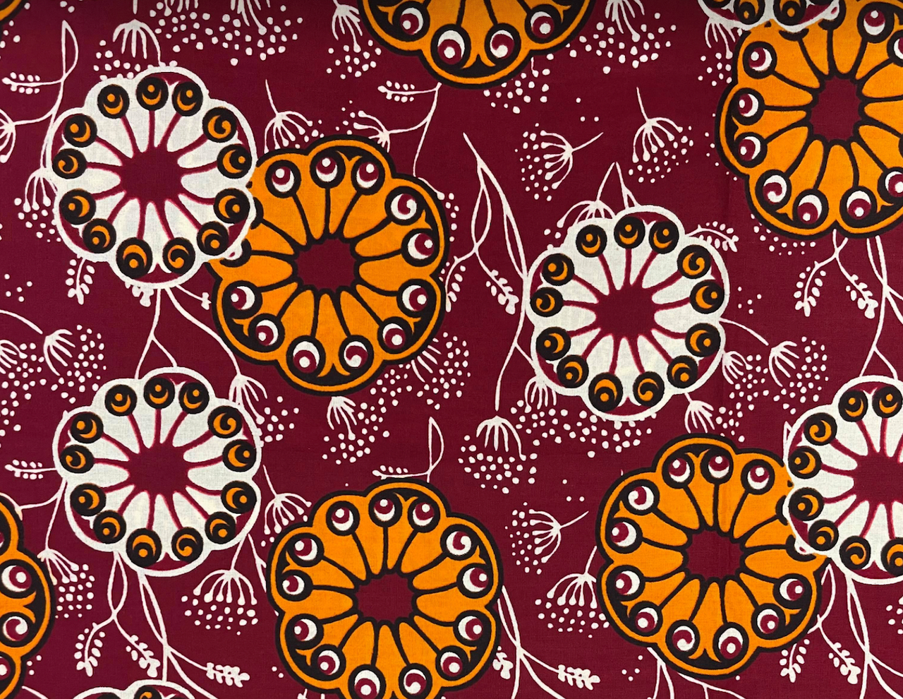 African Traditional Wax Print 27060 Red Cotton Fabric By The Yard