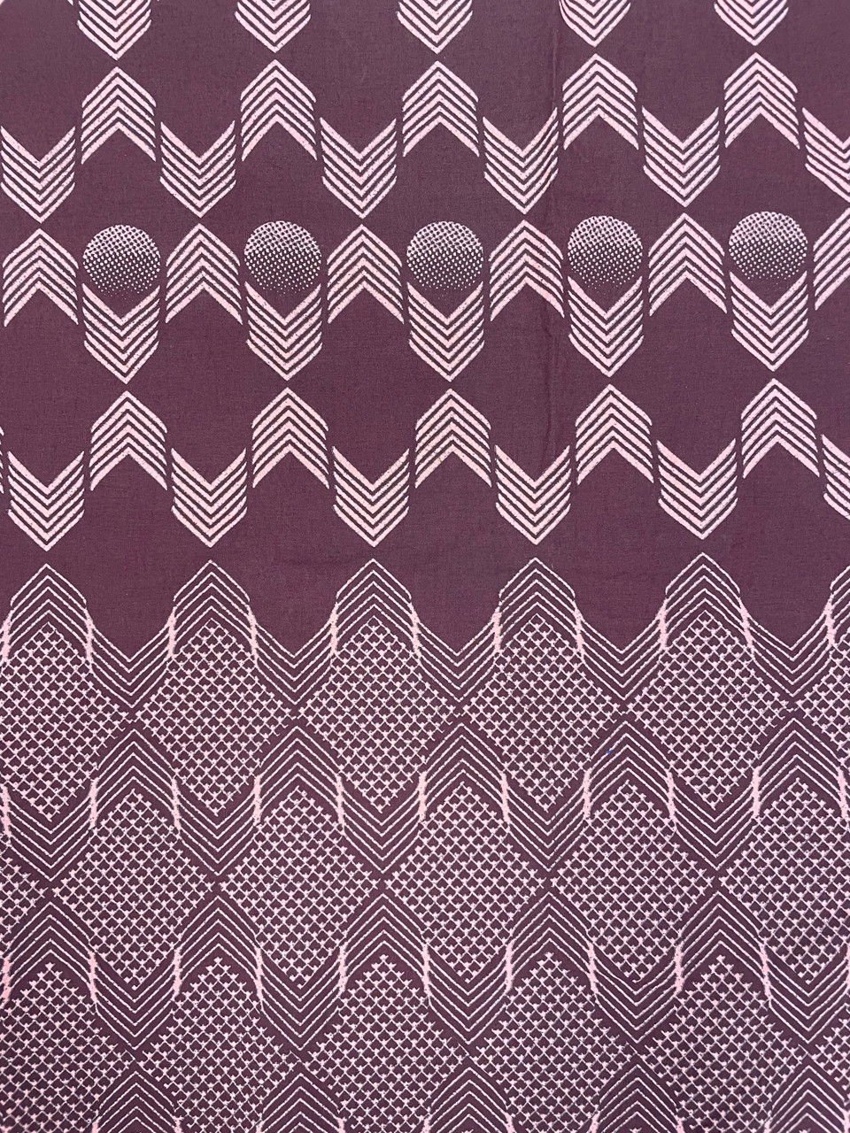 African Traditional Wax Print 27062 Burgandy Border Print Cotton Fabric By The Yard