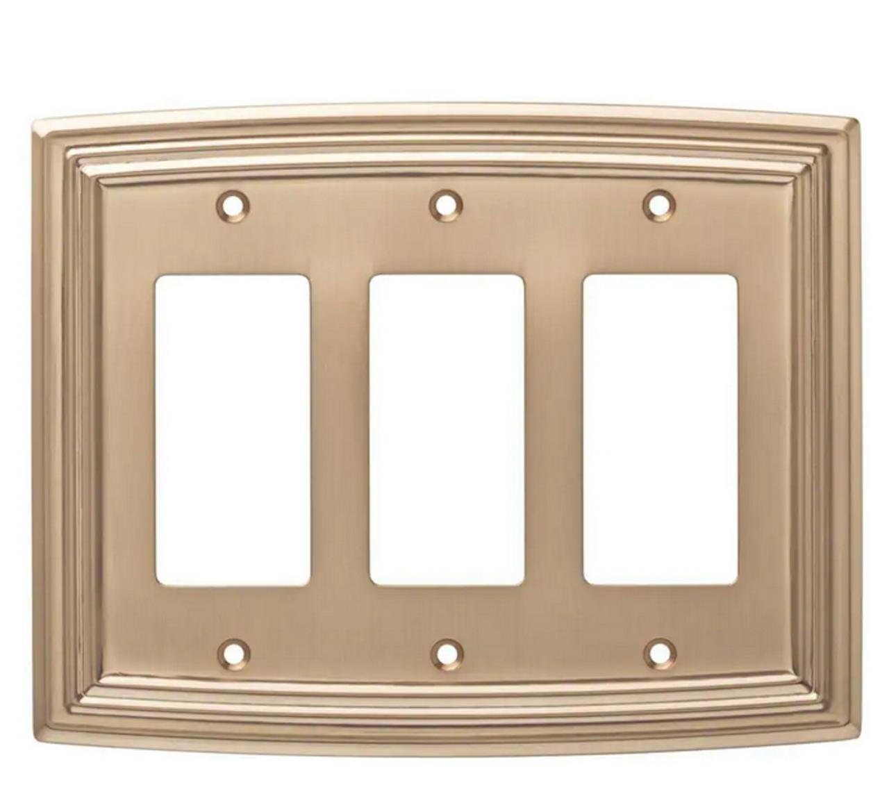 Hampton Bay W36405-CZ Classical Emery Triple GFCI Champagne Bronze Cover Plate