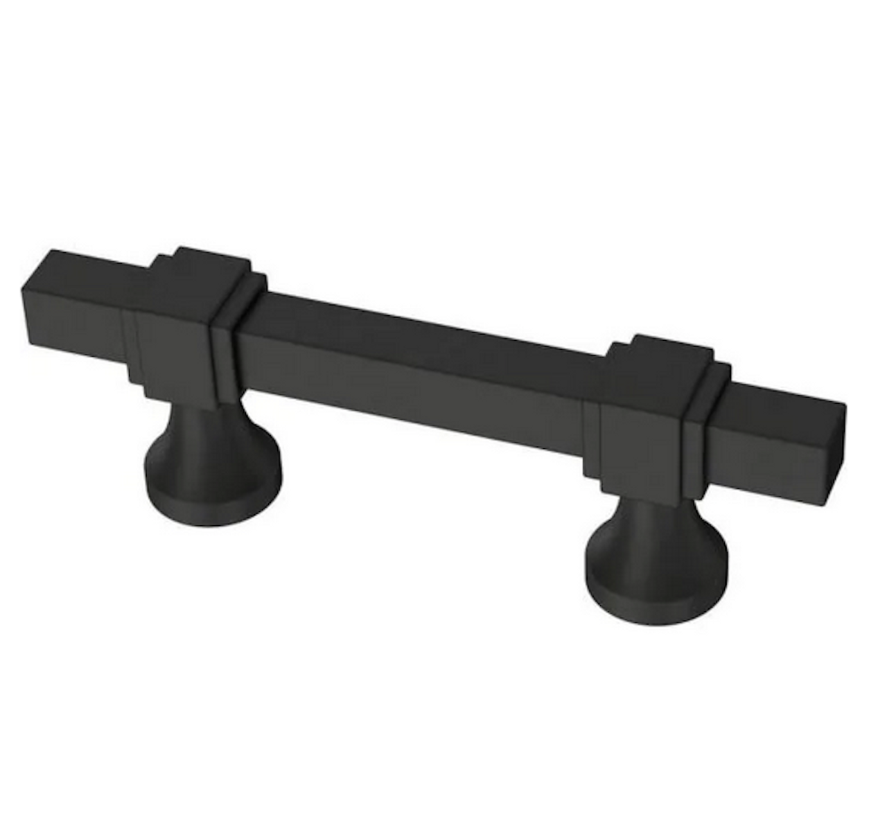 "Liberty P44379C-FB 1 3/8"" - 4"" Stepped Square Adjustable Cabinet Pull Flat Black"