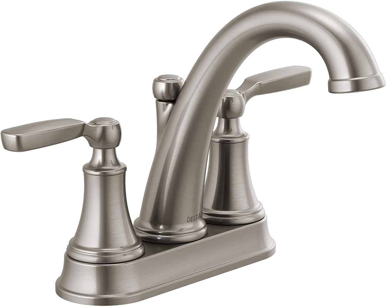 """Delta 2532LF-SSMPU Woodhurst Stainless Steel 4"""" Centerset Bath Faucet"""