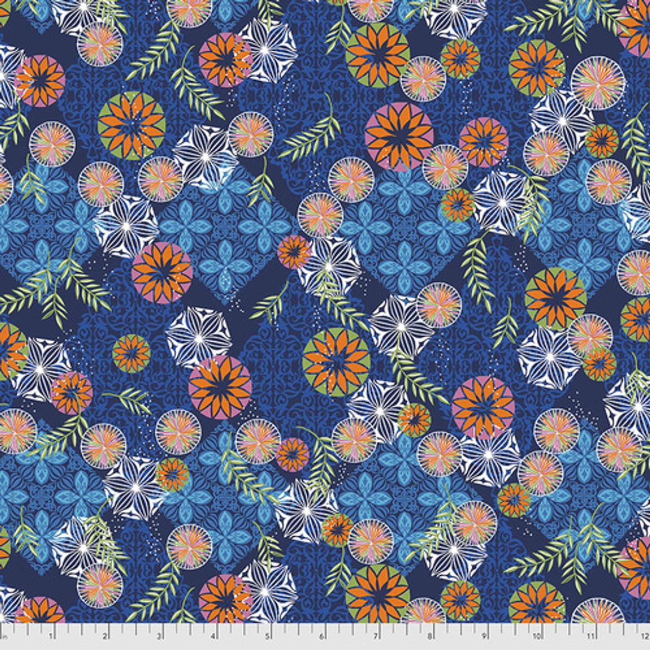 Free Spirit Valori Wells Enchanted Medallions Indigo Cotton Fabric By The Yard