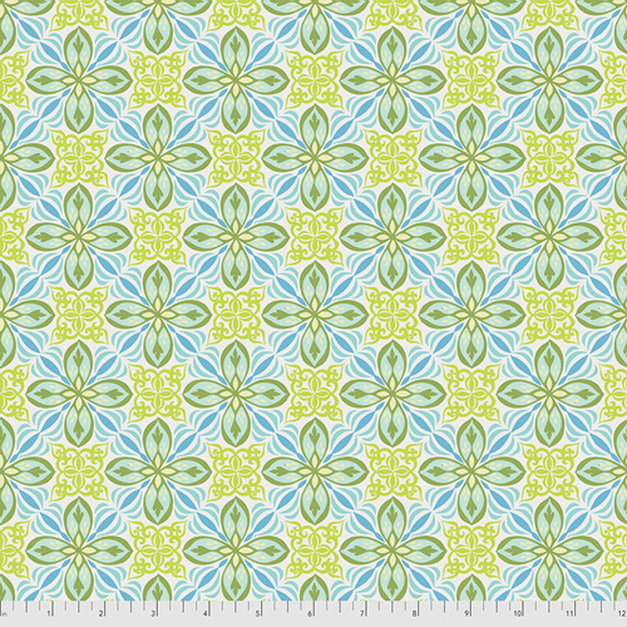 Free Spirit Valori Wells Enchanted Small Tile Avocado Cotton Fabric By The Yard